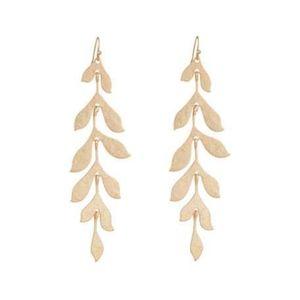 Linear Leaf-Drop Earrings